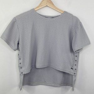 Koral Grey Short Sleeve Button Snap T-Shirt S